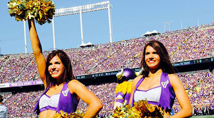 Karmen, Kirsten Nyberg Cheer for Vikings in National Football League