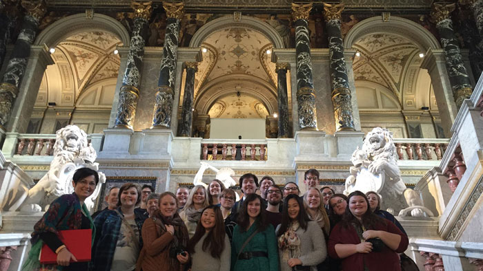 Augustana students on the steps of the Vienna Opera House in 2016.